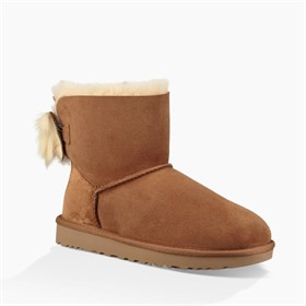 1094967	W Fluff Bow Mini UGG Chestnut